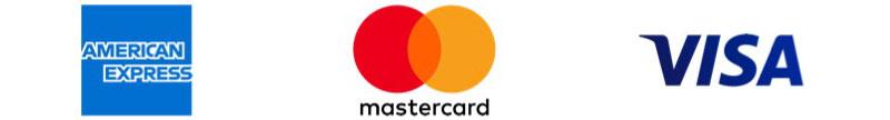 Métodos de pago aceptados: American Express, Mastercard, Visa