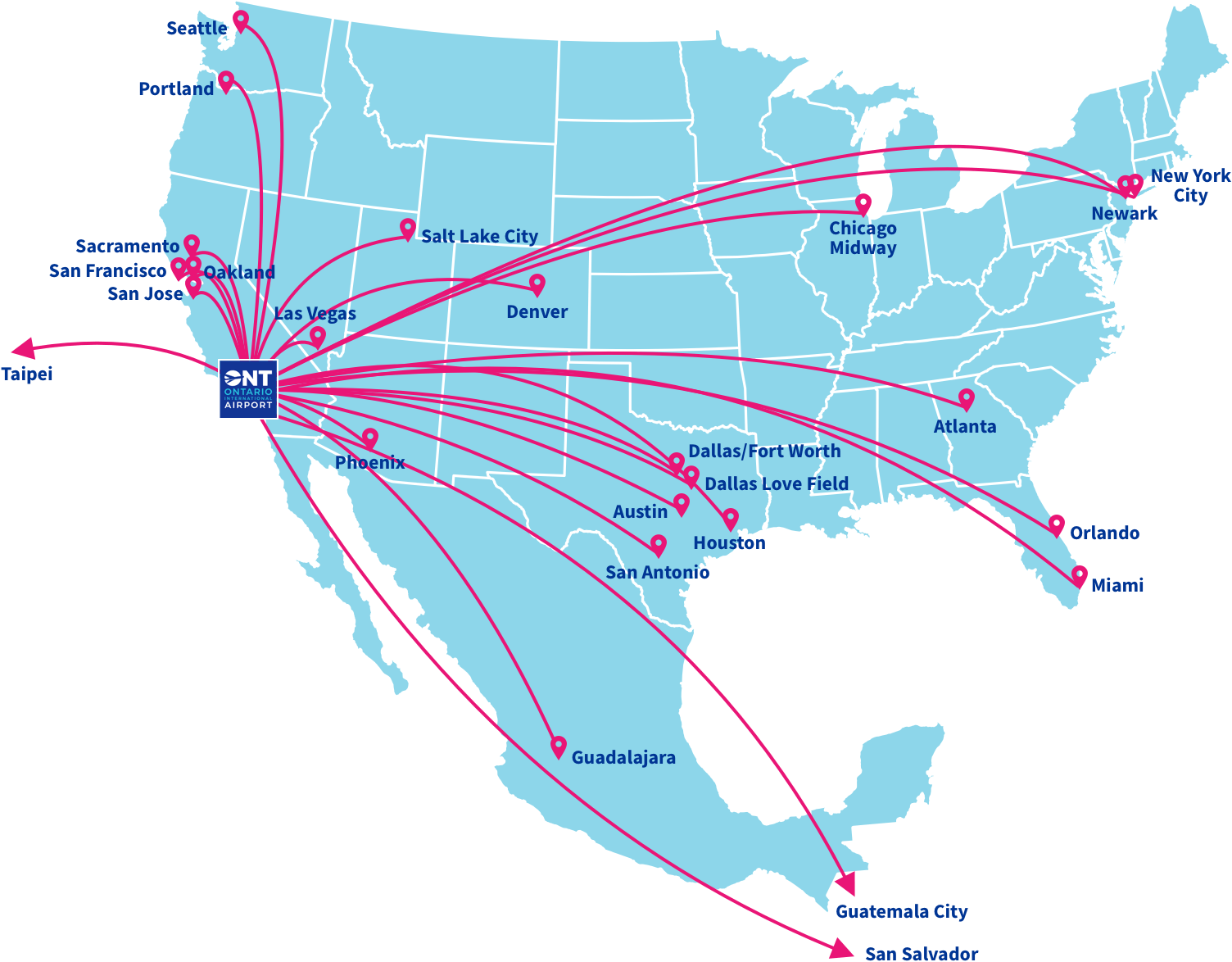 Nonstop Destinations | Ontario Internation Airport on southwest attraction map, south west air route map, southwest cargo map, southwest route map, southwest flight status, southwest reservation map, southwest fare map, southwest flying map, southwest airlines, southwest pilots, south west colorado road map, southwest service map, southwest flight schedule, southwest airtran destinations, southwest airport map, south west jackson ms map, airtran map, southwest transit map,