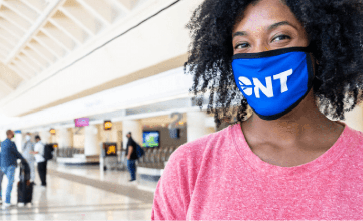 Airline passenger with ONT mask